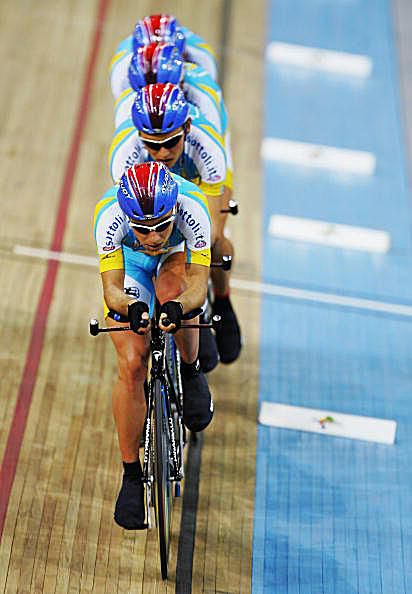 Ukraine cyclists compete in the Team Pursuit race at the 2007 UCI Track Cycling World Championship.