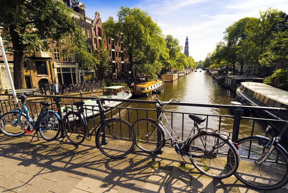 Bicylces by canal, Amsterdam.
