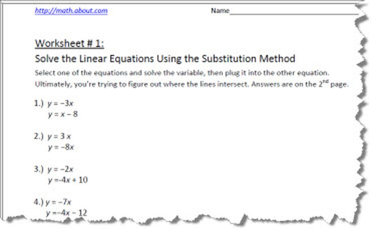 Ways to Solve a System of Linear Equations – Writing Linear Equations Worksheet