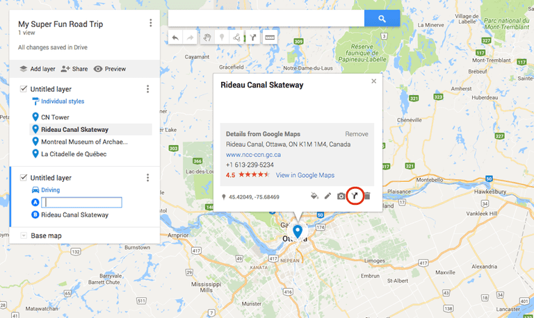 how to change route on google maps