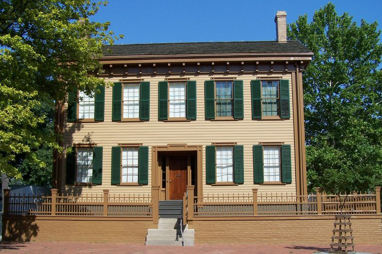 Front View of Lincoln Home, 5 Windows Across on Second Floor, Center Door on First Floor With 2 Windows on Each Side