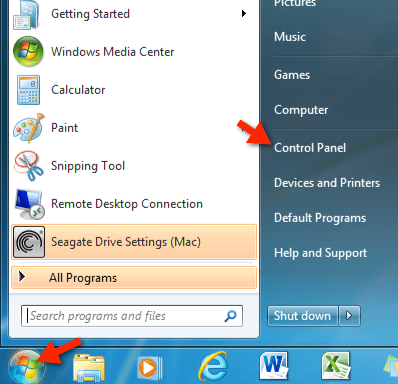 Control Panel in Windows 7