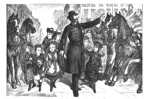 Beautifully Illustrated Antique Engraved Victorian Illustration of Policeman Directing Traffic and Pedestrians Victorian Engraving, 1877. Source: Original edition from my own archives. Copyright has expired on this artwork. Digitally restored.