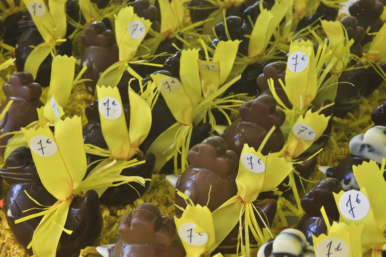 Row upon row of chocolate chickens in a shop in France. As well as eggs, the French make a number of other things in chocolate to celebrate the holiday.