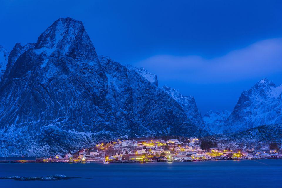 Idyllic coastal village at Reine in winter, Norway