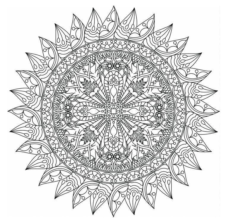 center of ganden mandala - Adult Coloring Pages Mandala