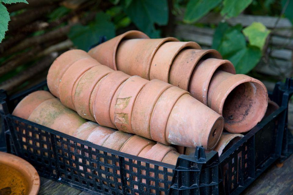 Terracotta flower pots ready for a busy spring garden