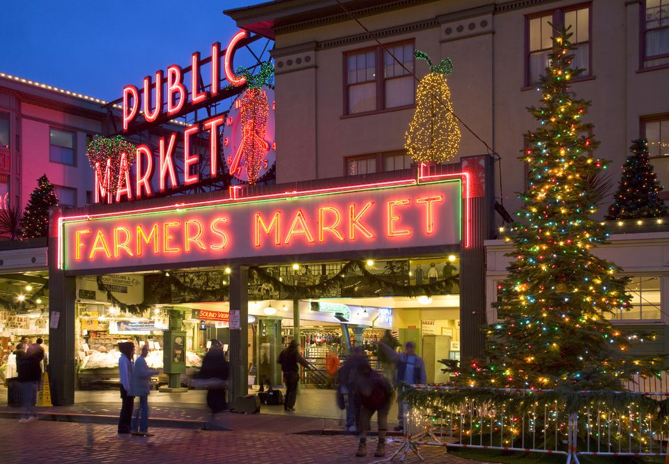 Pike Place Market at Christmas, Seattle WA