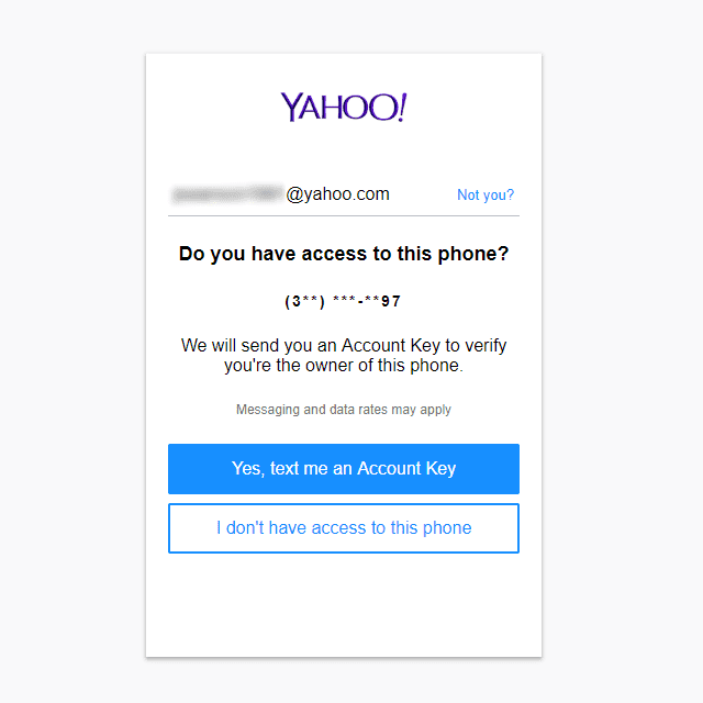 Screenshot of the Yahoo sign-in helper page if you have access to your phone number