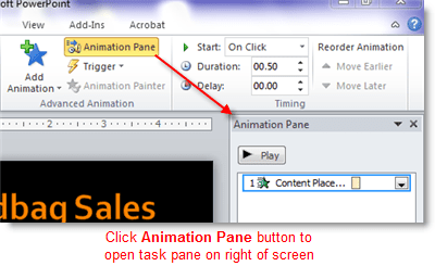 Open the PowerPoint animation pane