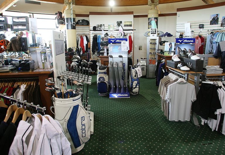 Interior view of the green grass pro shop at East Sussex National Golf Course in Lewes, England
