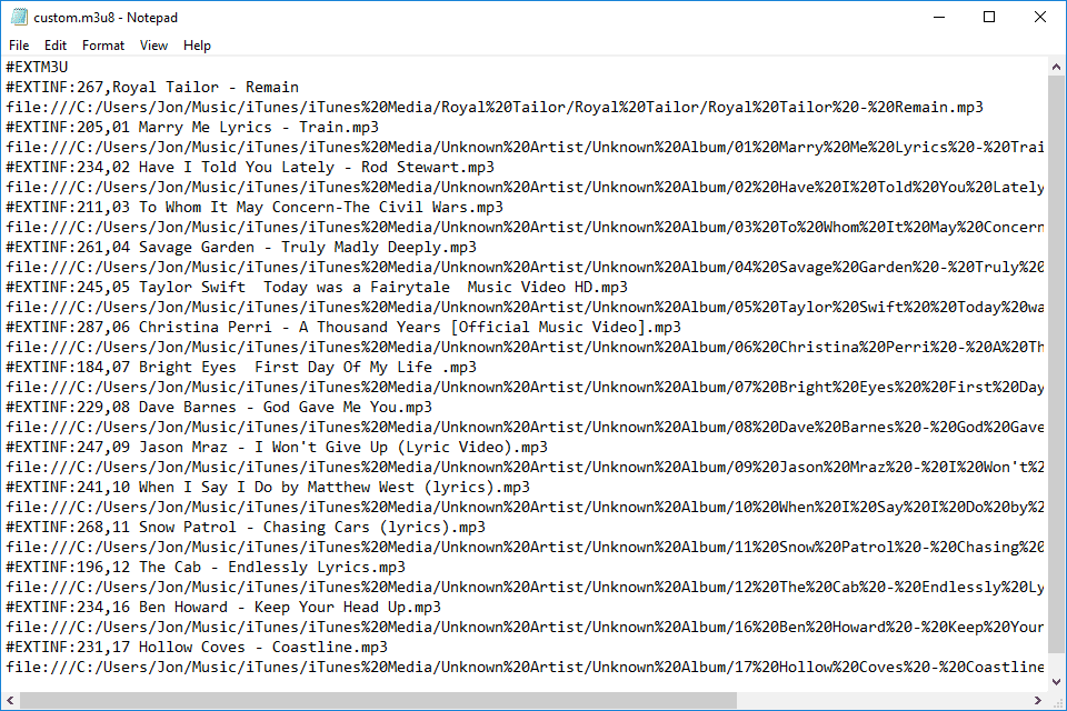 Screenshot of an M3U8 file open in Windows Notepad