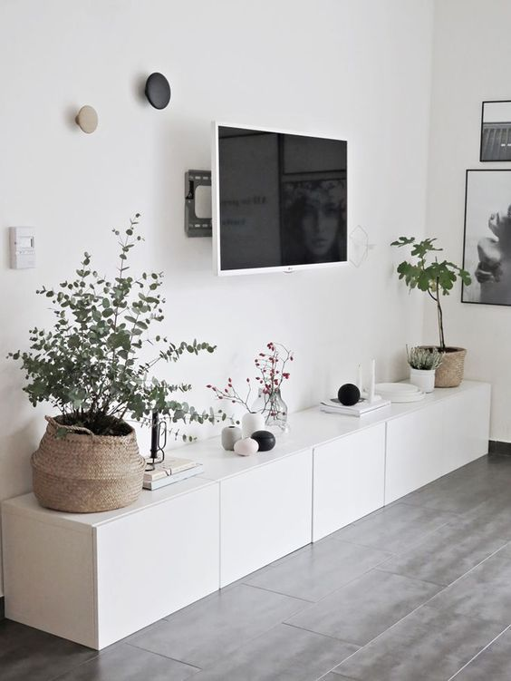 Living room area with Scandinavian-style credenza