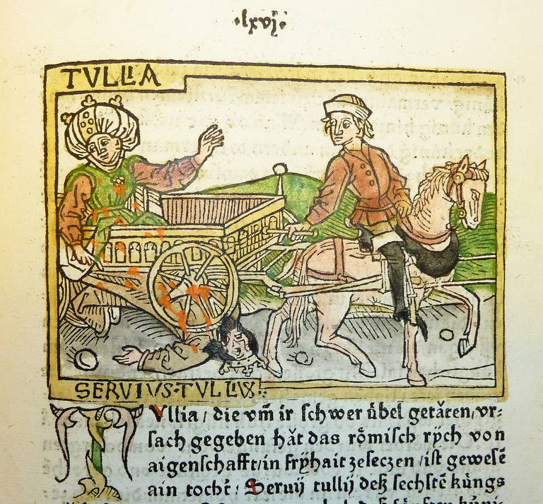 Woodcut illustration of Tullia driving over the body of her husband, Servius Tullius
