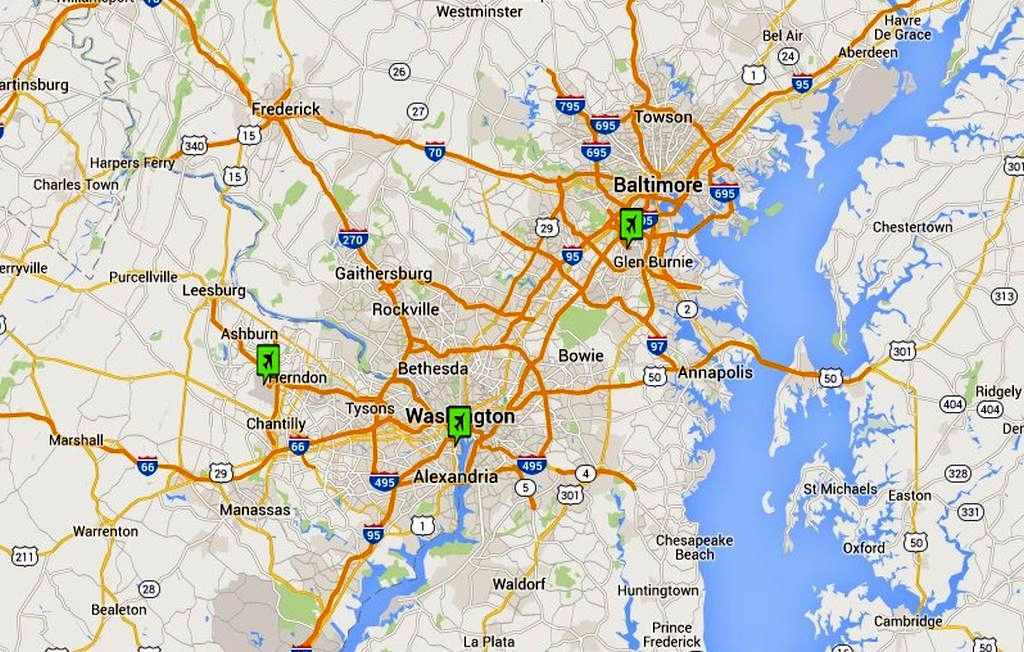 Which Washington DC Airport Is Best - Airport map southeats us