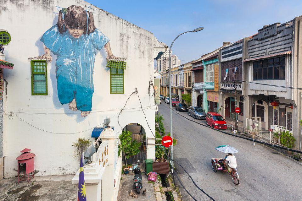 Morning street scene in George Town, Penang, Malaysia