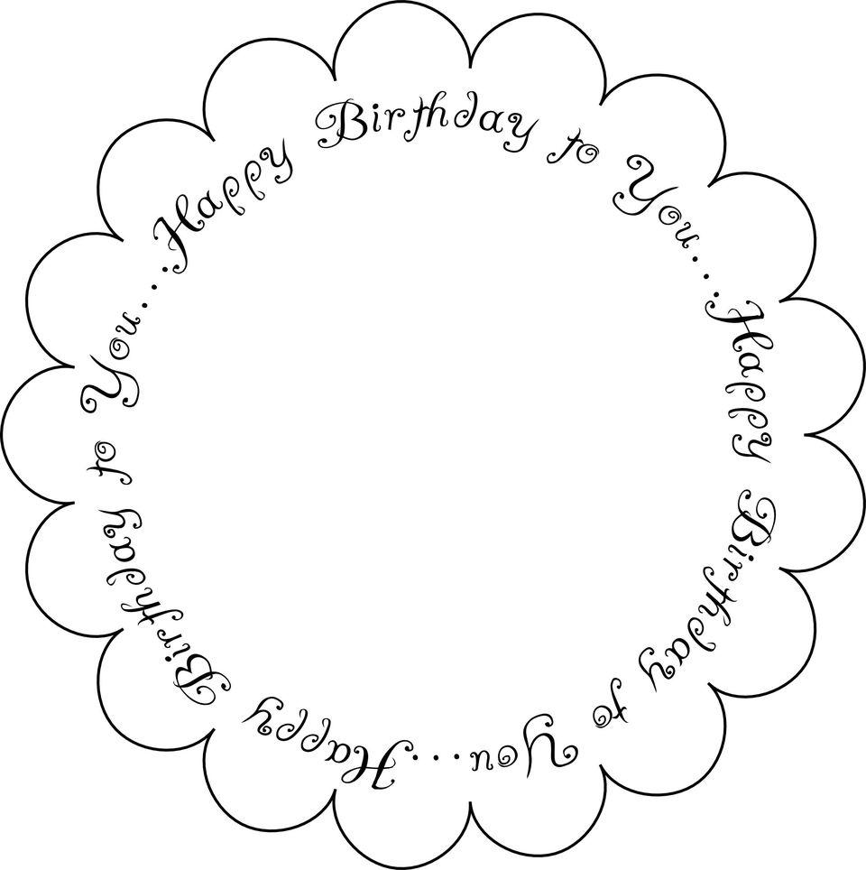Printable Birthday Sentiment - Scallop Edge 1