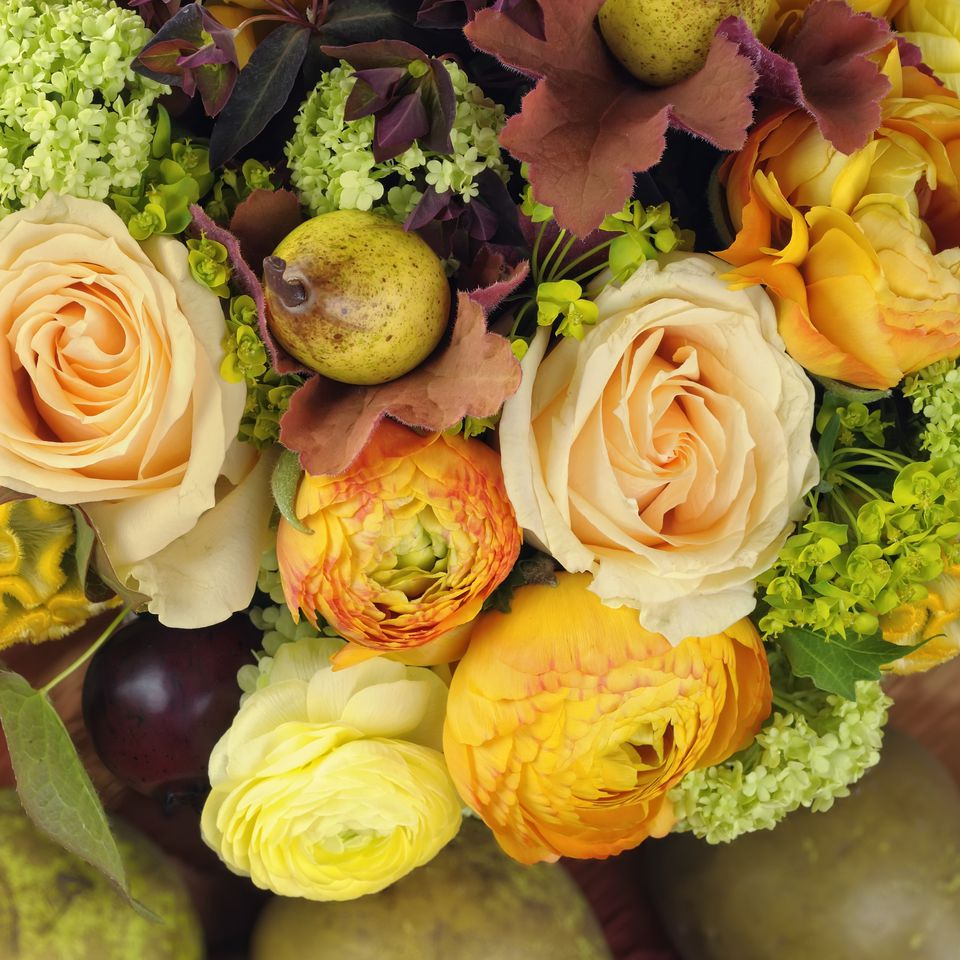 Rose, ranunculus, and pear bouquet