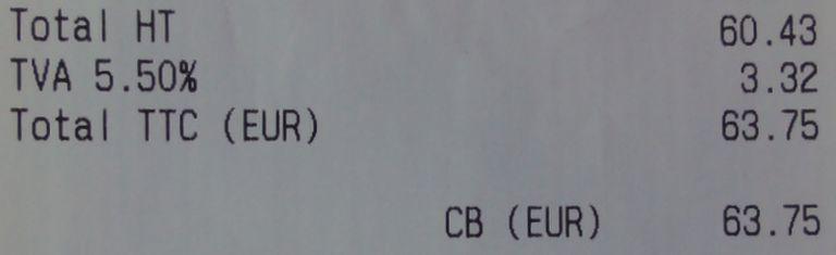 French receipt with TTC