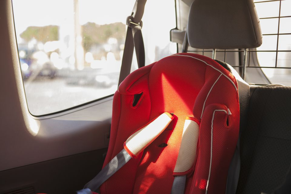A child restraint seat in a car.