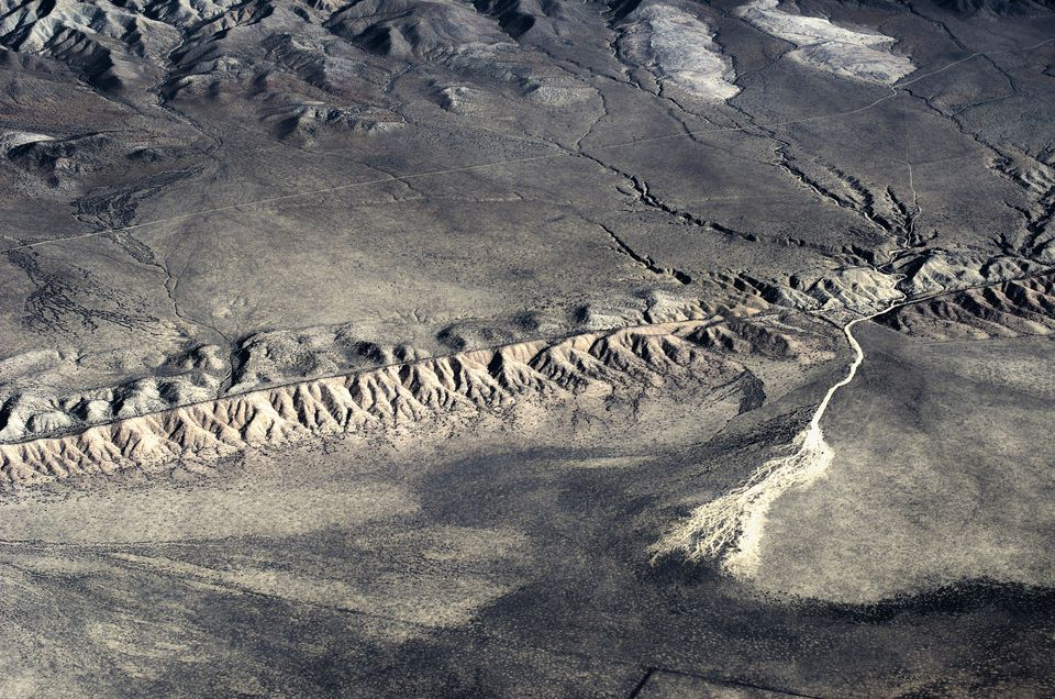 Aerial view (direction of view is from the northwest to the southeast) of San Andreas Fault, Near Taft, California, USA