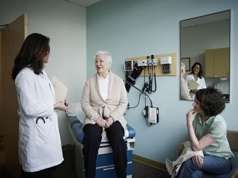 older woman visiting female doctor
