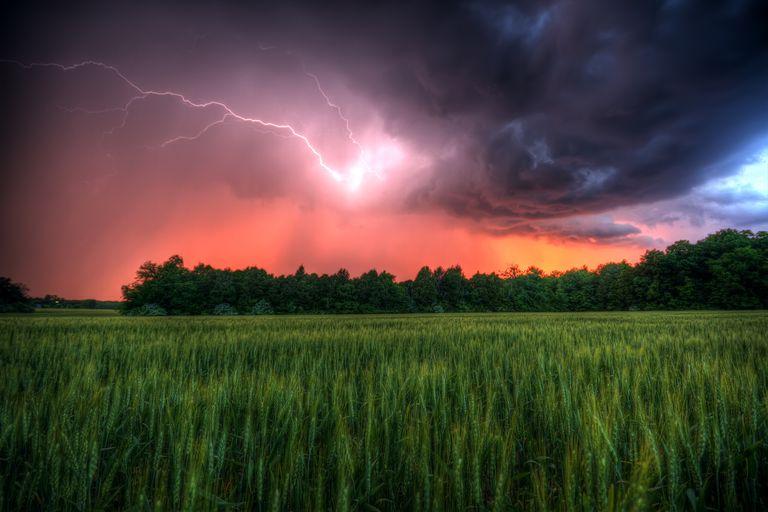 Lightning from sunset
