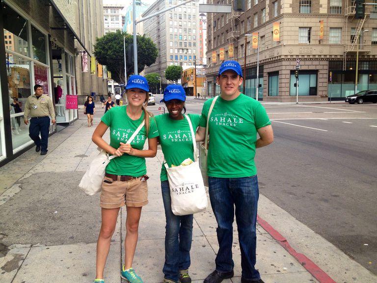 Sahale Snacks street team spreading the food