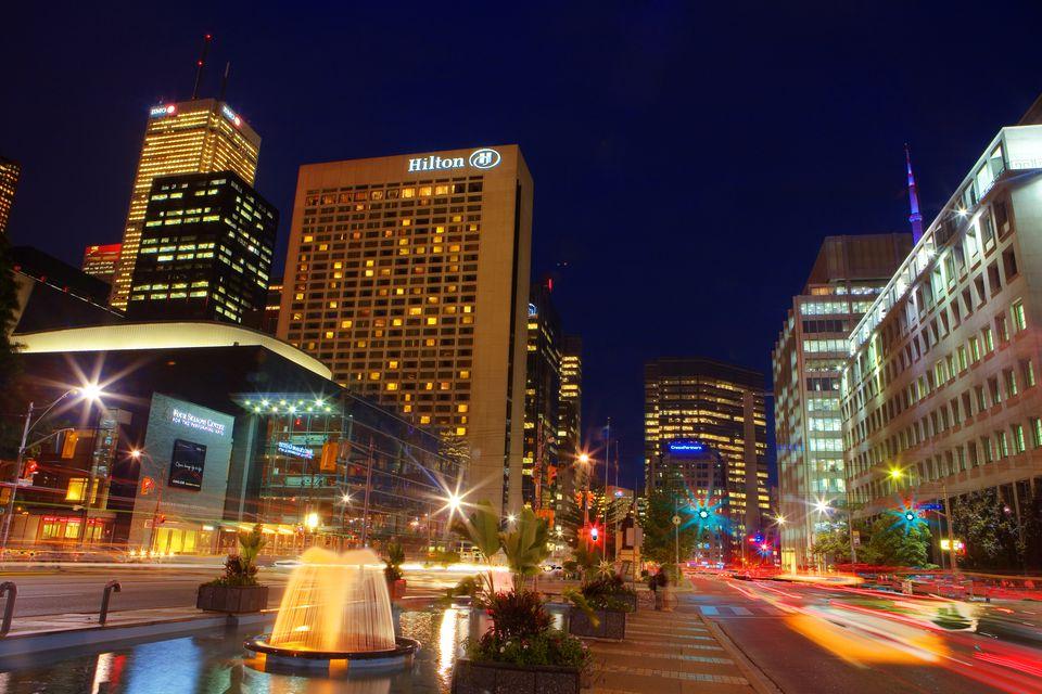 University Avenue at night, Toronto, Ontario, Canada