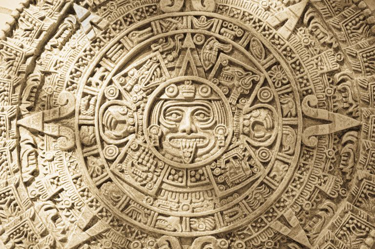 Close up of Aztec Calendar Stone Carving