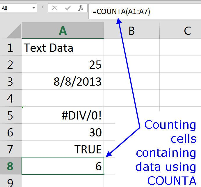 Counting All Types of Data with COUNTA in Excel