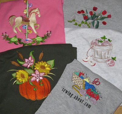 Collection of Tee Shirts Machine Embroidered by Debbie Colgrove