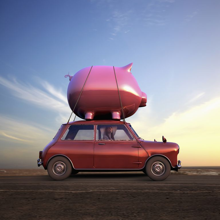 Car with Huge Piggy Bank on Top