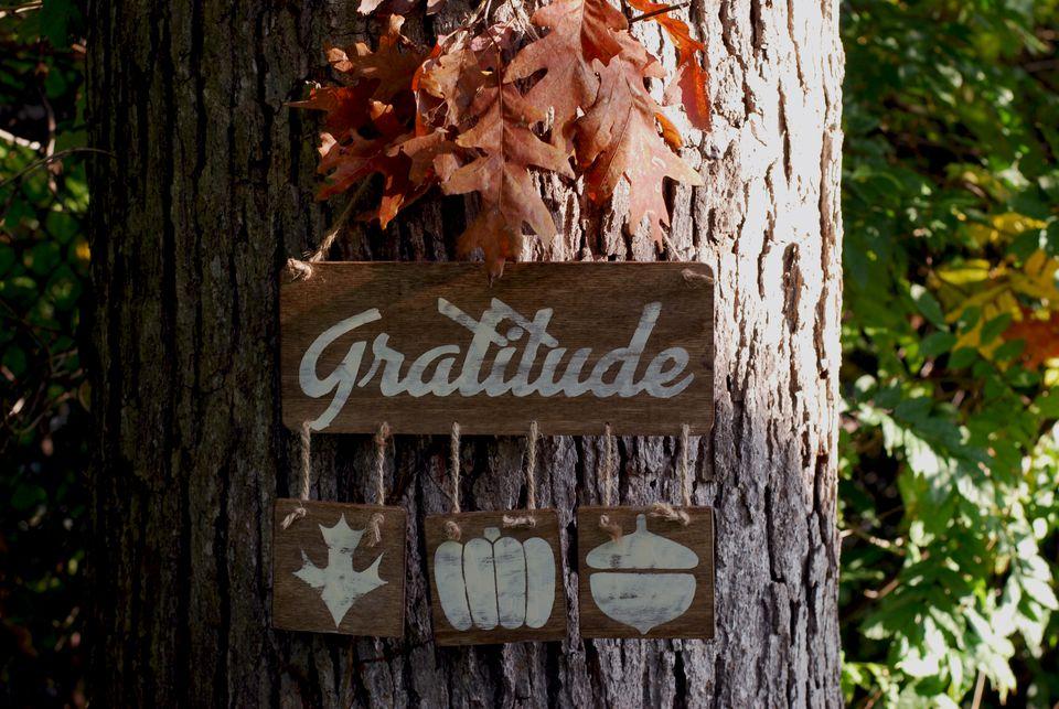 reclaimed wood gratitude plaque