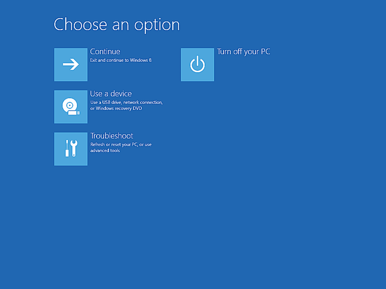 Screenshot of the Advanced Startup Options menu in Windows 8