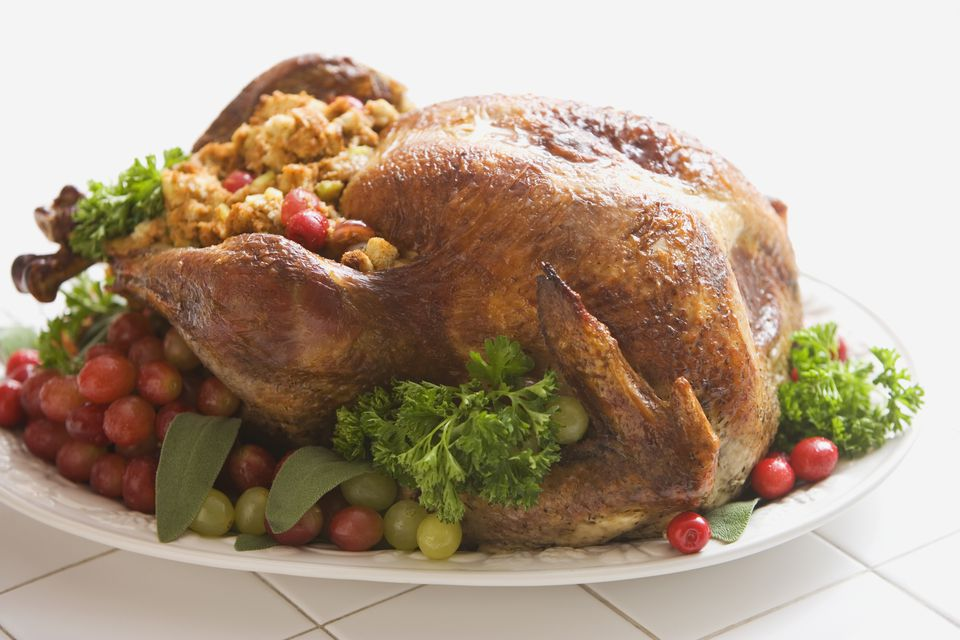 Roasted turkey on platter with dressing