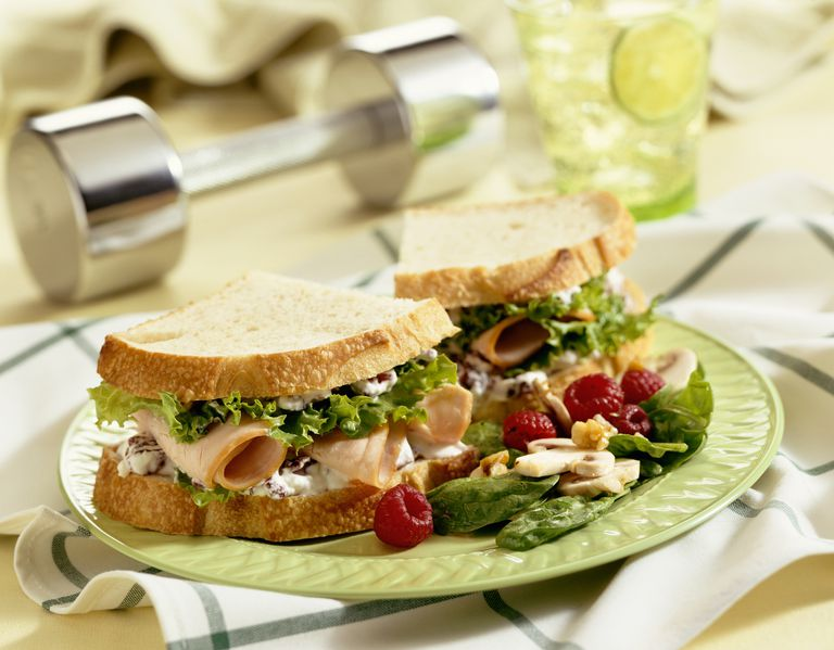 Turkey Sandwich with Chrome Barbell in Background