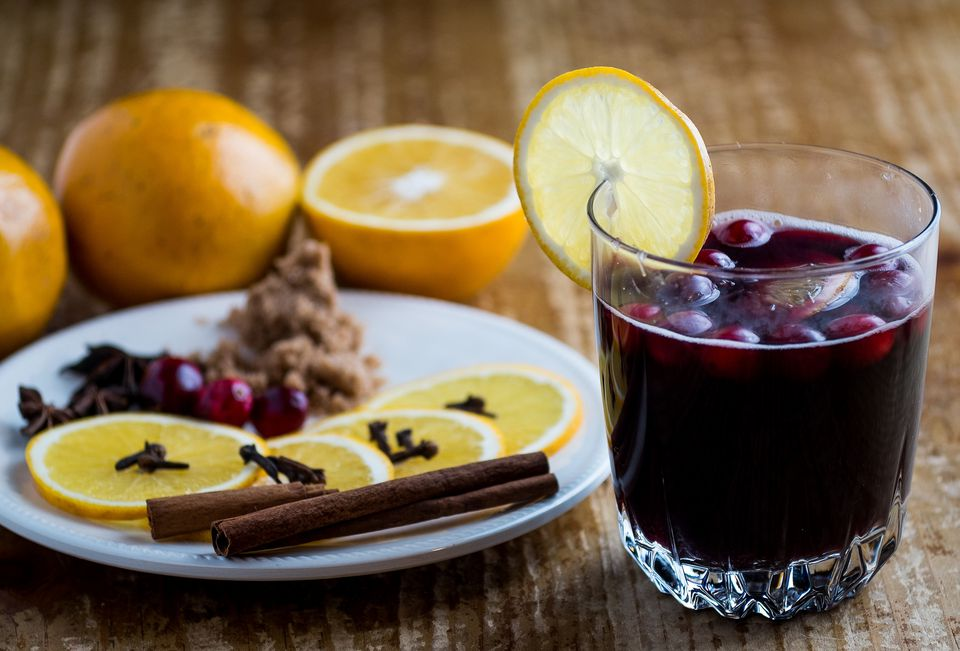 mulled wine with plate of spices