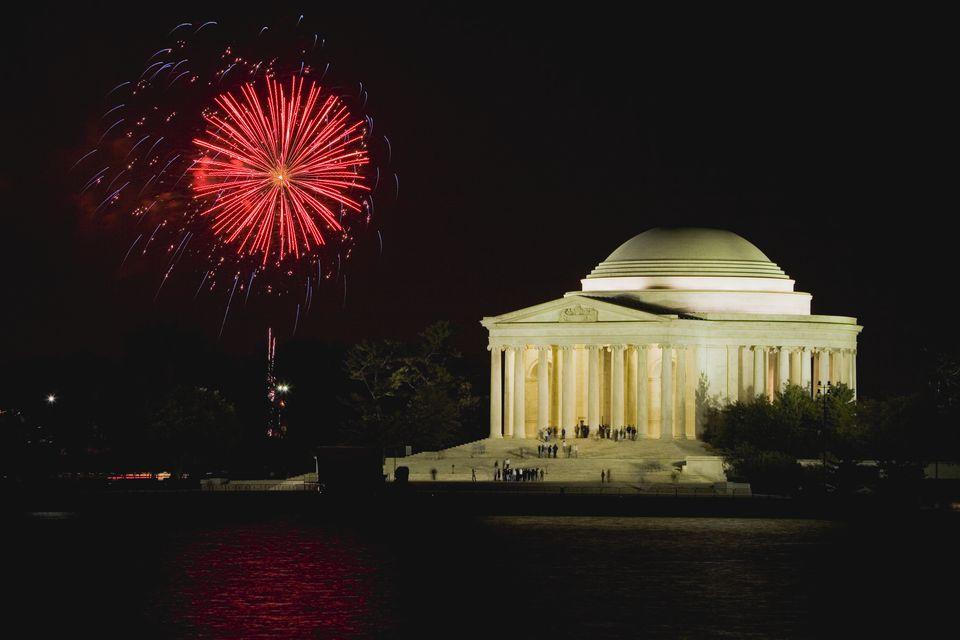 Fireworks over Jefferson Memorial