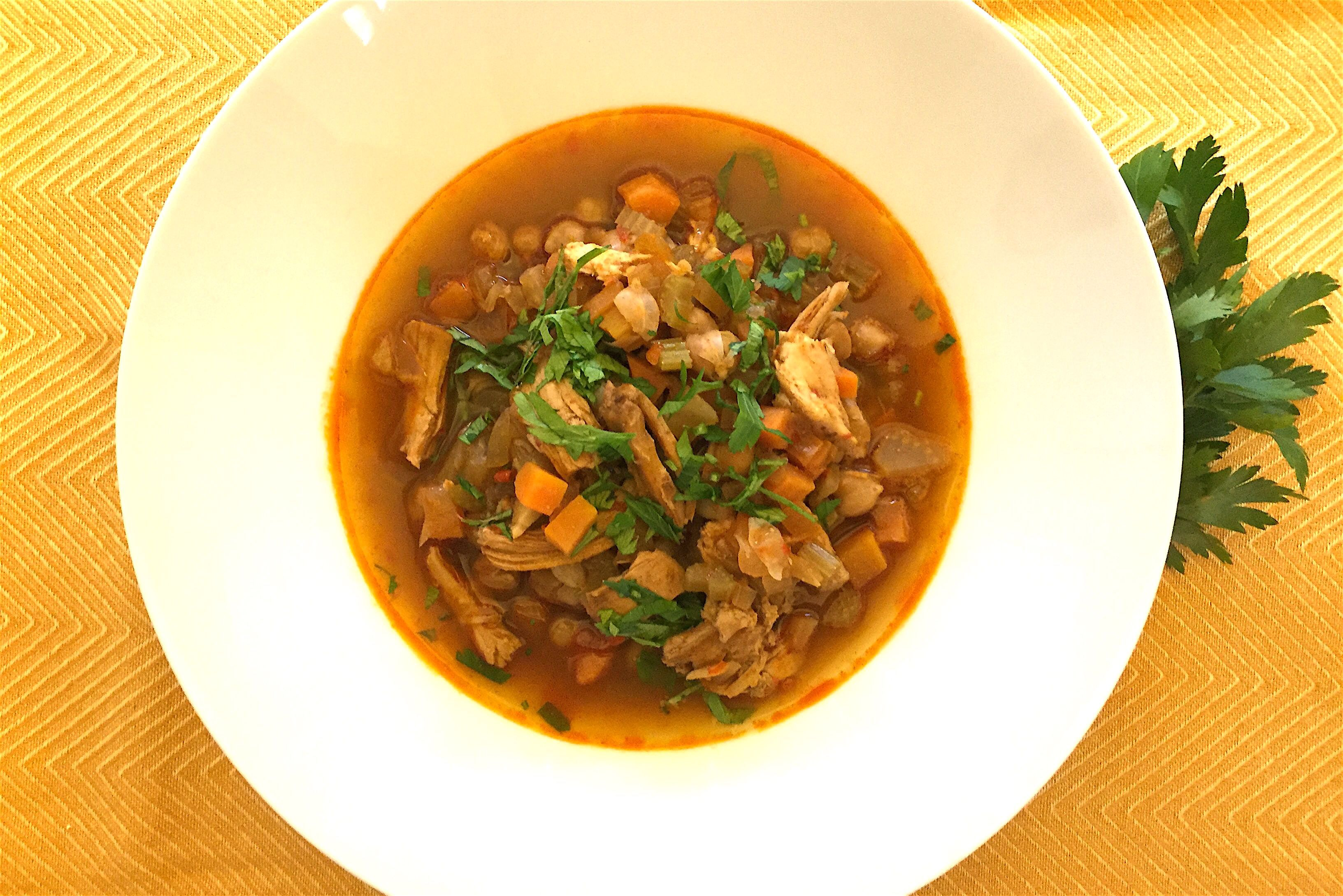 Low-Carb Harissa Spiced Chickpea and Chicken Soup