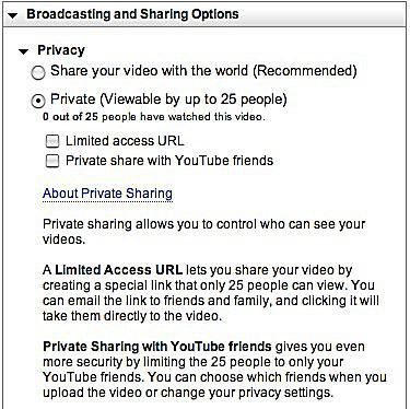 Broadcasting and Sharing Options
