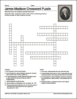 James Madison Wordsearch, Worksheets, Coloring Pages