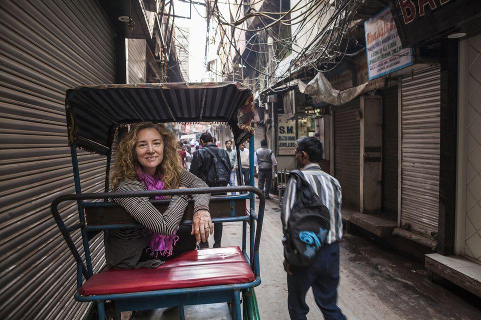 Female tourist in Delhi.