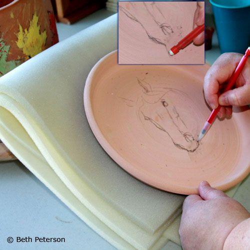 Preliminary drawing can be done on bisqueware. The pencil drawing will fire out.