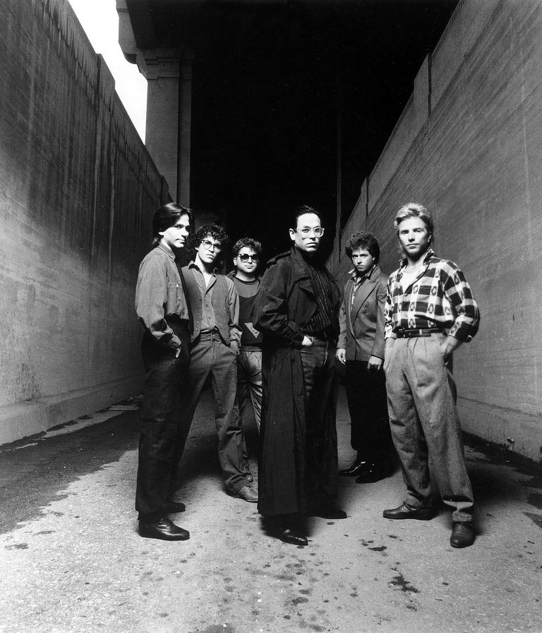 1984 photo portrait of the members of American rock band Toto.