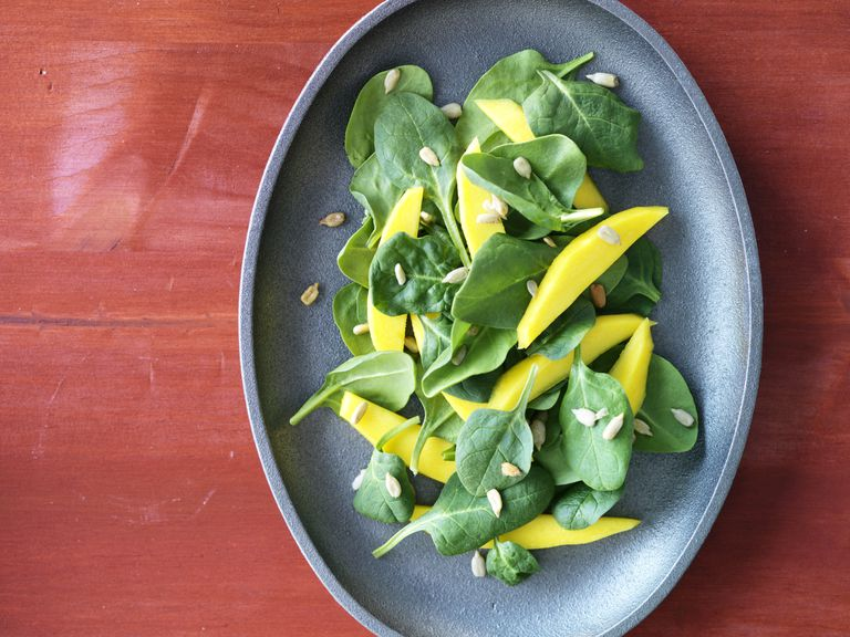 Spinach, mango and sunflower seeds are high in vitamin E.