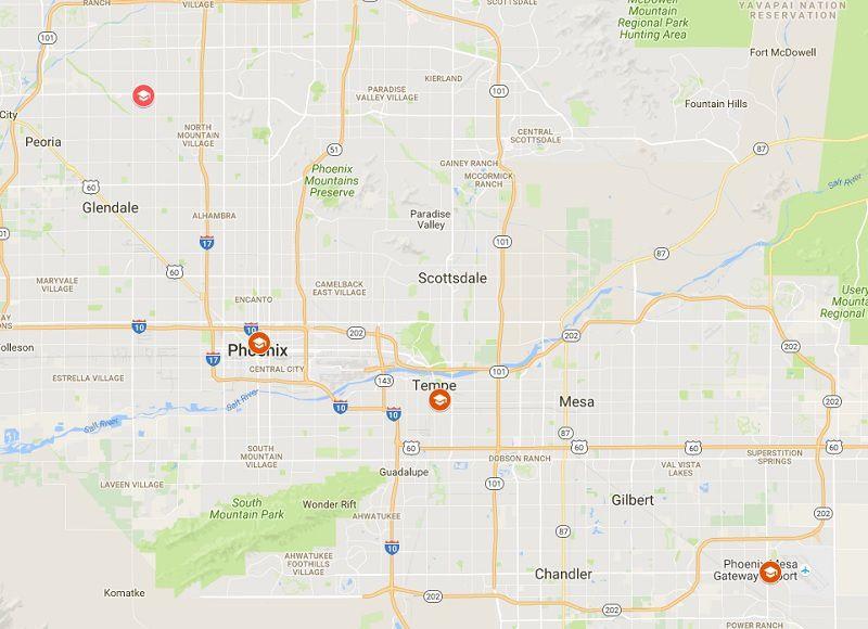 ASU Campus Locations in Greater Phoenix