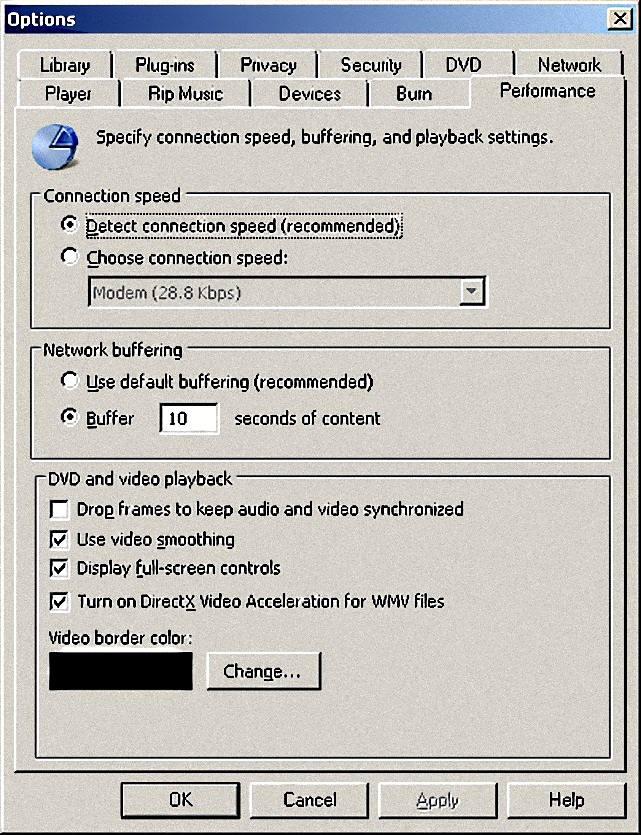Windows Media Player Options Menu