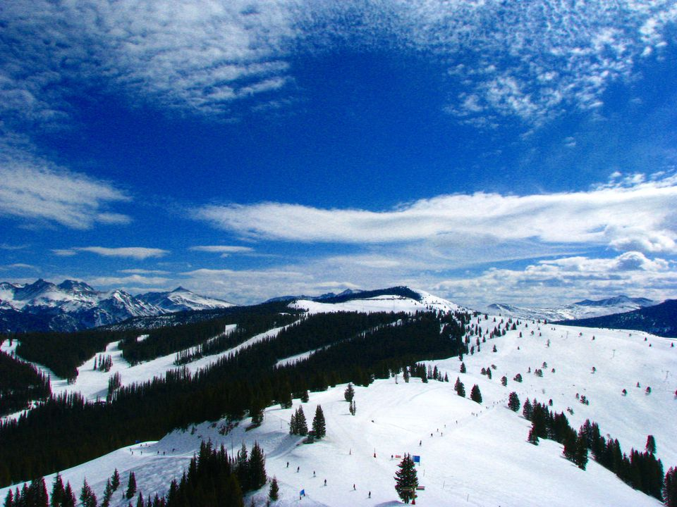 mountains, snow and trees in Vail Colorado