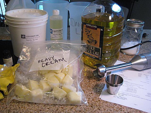 set up for heavy cream milk soap